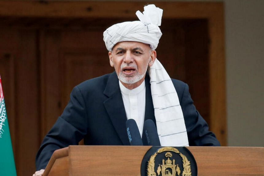 Afghanistan's President Ashraf Ghani speaks during his inauguration as president in Kabul on March 9, 2020.