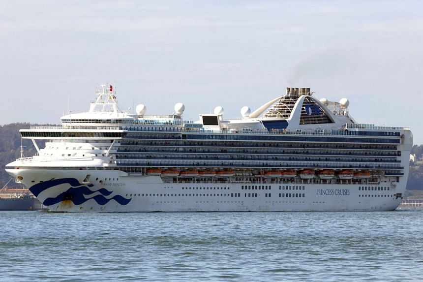 The Grand Princess cruise ship carrying passengers who have tested positive for coronavirus arrives past the Golden Gate bridge in San Francisco, California, US, on March 9, 2020.