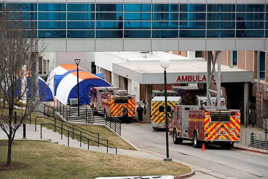 Newly erected negative pressure screening tents are set up outside the emergency room entrance at University of Utah hospital as they prepare for coronavirus testing, in Utah, US, on March 9, 2020.