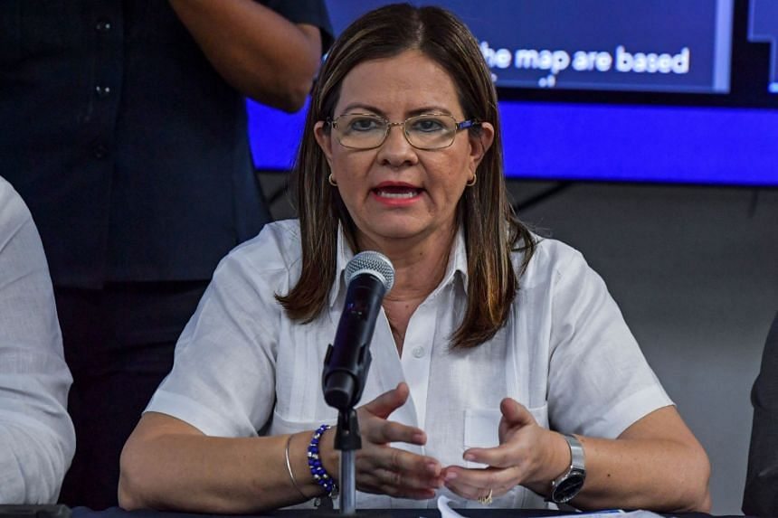 Panama's Health Minister Rosario Turner speaks during a press conference on March 10, 2020. Panama is the second Central American country to record cases of the Covid-19 virus following Costa Rica.