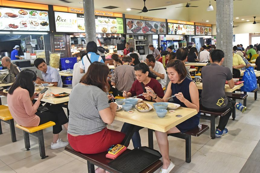 A photo from March 28, 2019, shows a hawker centre at Bishan during the lunch hour.
