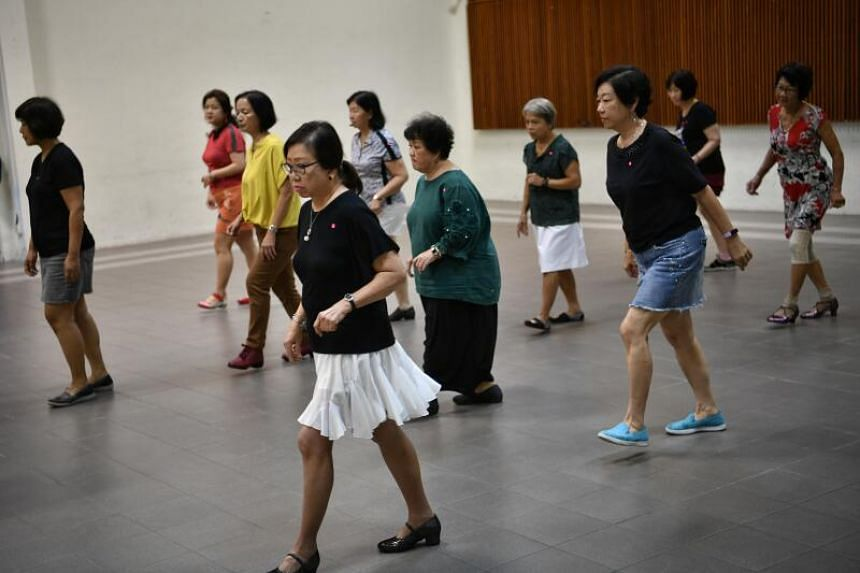 A line dancing class held at the multi-purpose hall of Siglap South Community Centre on March 10, 2020.