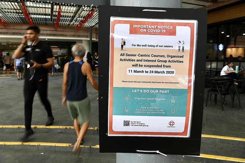 The suspension of social activities for seniors organised by government agencies will not only protect this vulnerable segment of the population, but also help to reduce the risk of transmission. ST PHOTO: DESMOND FOO
