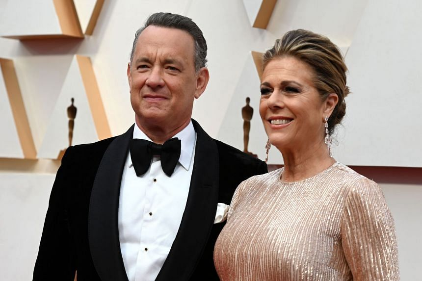 Tom Hanks and his wife Rita WIlson arrive for the 92nd Oscars at the Dolby Theatre in Hollywood, California on Feb 9, 2020.