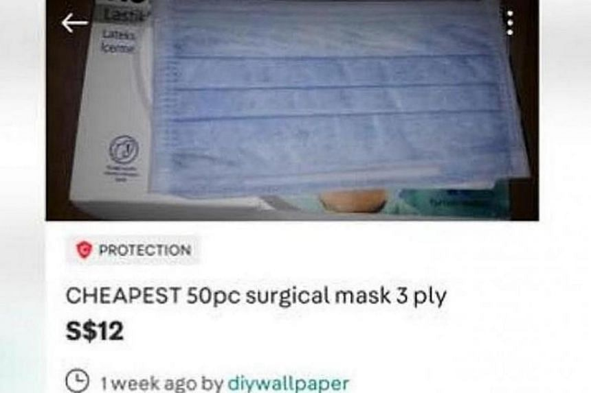 "A screenshot of the Carousell listing by ""diywallpaper"" selling surgical face masks."
