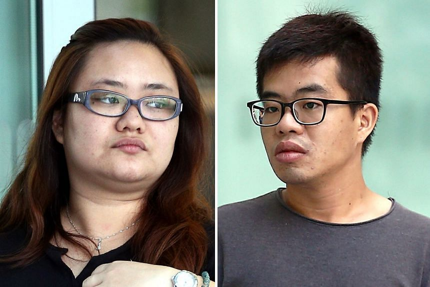 Amanda Yeo Pei Min and Leong Wei Guo pleaded guilty to working together and agreeing to cause grievous hurt to Yeo's then-spouse. ST FILE PHOTOS
