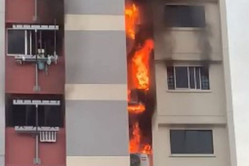 The fire affected three flats on levels eight to 10 of Block 845 Woodlands St 82 and is believed to have started in a bedroom.
