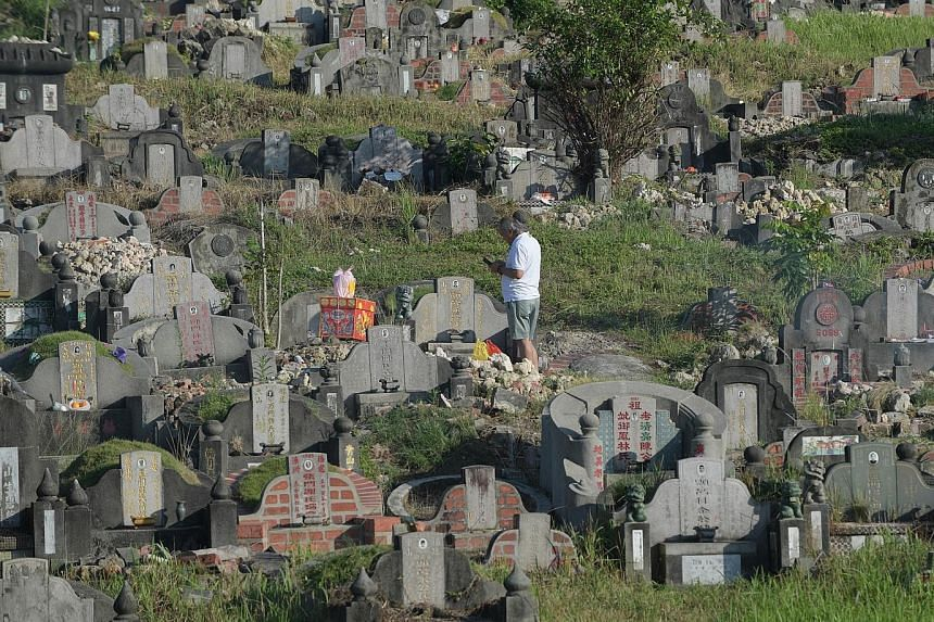 A man with offerings at Choa Chu Kang Chinese Cemetery during the Qing Ming Festival in April last year. This year's festival will take place on April 4, and those who are sick are reminded to avoid visiting the cemeteries and columbaria. NEA has als