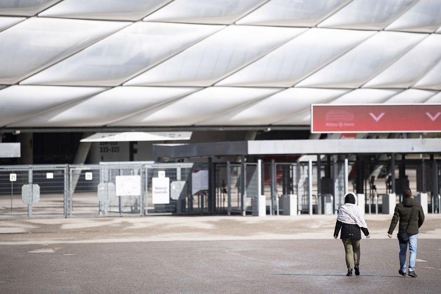 Entrance gates at the Allianz Arena, stadium of German Bundesliga side Bayern Munich, in Munich, Germany, on March 13, 2020.