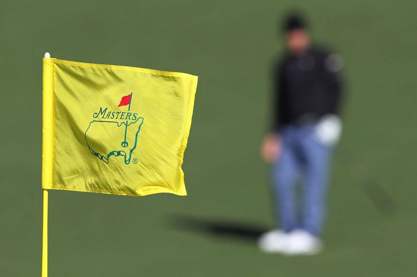 A 2017 photo shows the pin flag flying at the second hole during the second round of the Masters Tournament.