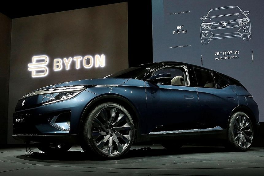 The Byton M-Byte all-electric SUV (above) at this year's CES in Las Vegas, Nevada.
