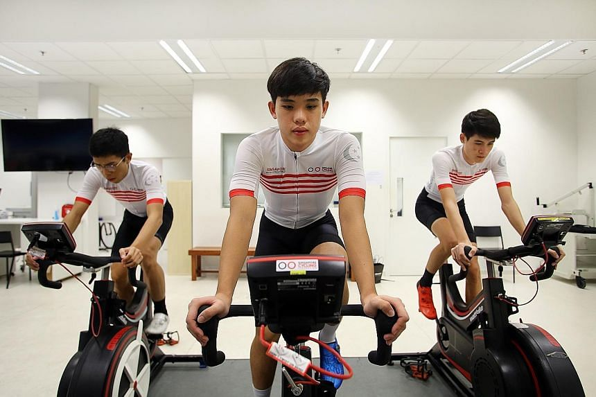 National training squad members (from far left) Darren Lim, 22, Samuel Leong, 18, and Tim Schmidt, 19, all aim to race professionally. PHOTO: LIANHE ZAOBAO