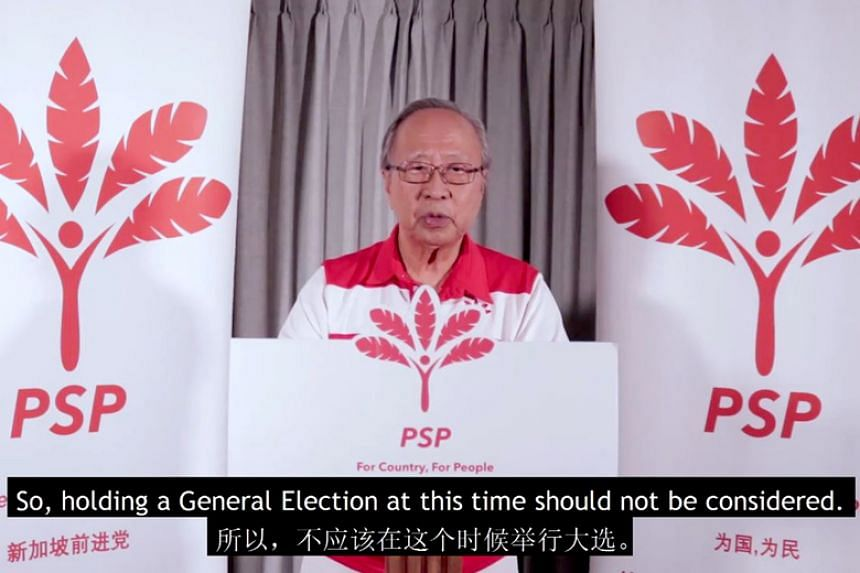 In a three-minute video put up on Facebook, Dr Tan Cheng Bock strongly urged the Government not to hold polls during the Covid-19 pandemic.