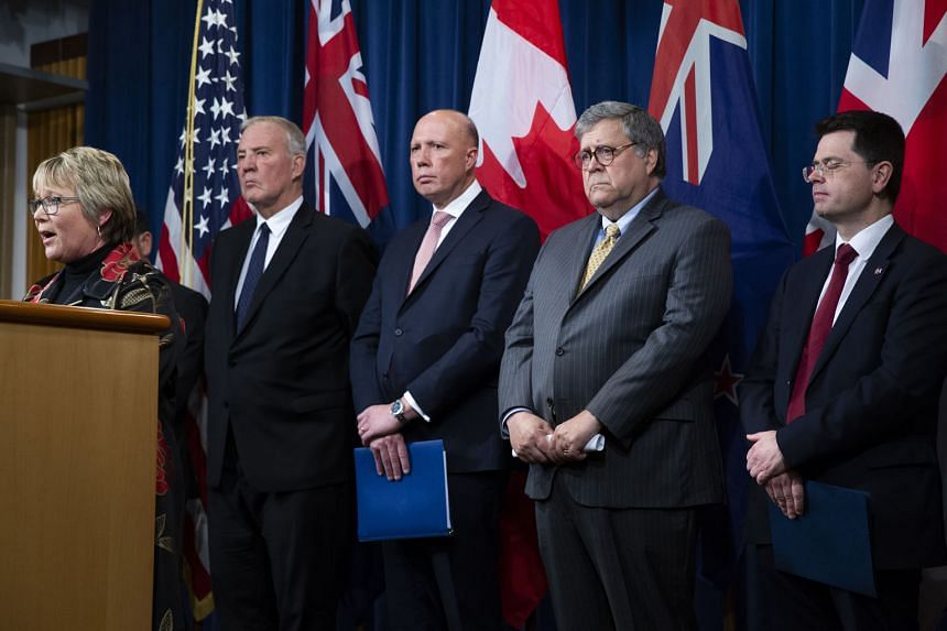 From left: New Zealand Minister of Internal Affairs and Minister for Children Tracey Martin, Canadian Minister of Public Safety and Emergency Preparedness Bill Blair, Australian Minister for Home Affairs Peter Dutton, United States Attorney-General W