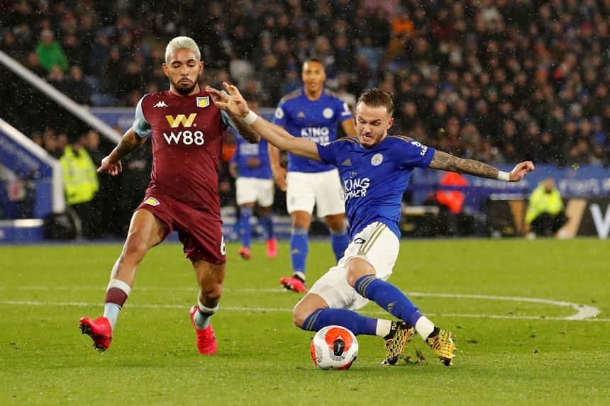 Leicester City's James Maddison (right) shoots a goal during the match between  Leicester City and Aston Villa on March 9, 2020.
