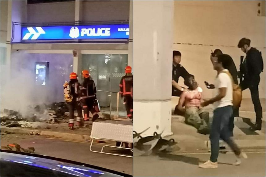 A 31-year-old man has been detained over a fire in front of a neighbourhood police post in Boon Keng.