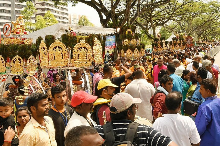 People taking part in festivities at the Panguni Uthiram festival in Yishun Industrial Park A on March 21, 2019. The Panguni Uthiram chariot and foot procession this year has been cancelled amid the coronavirus outbreak.