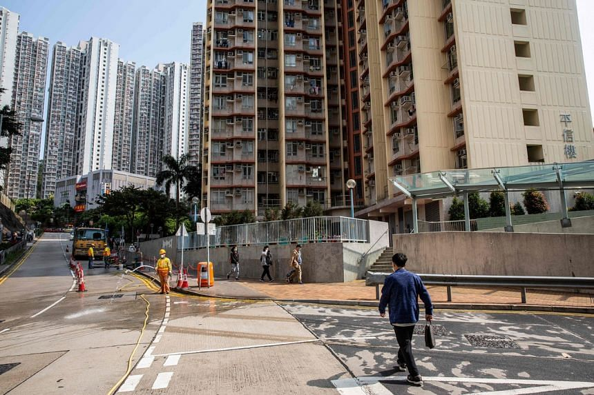 A view of Lam Tin estate in Hong Kong, on March 14, 2020. The government's quick implementation of restrictive social distancing measures are now being hotly debated around the world.