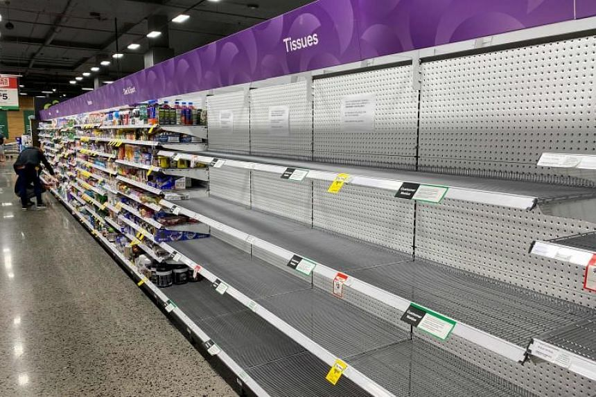 An empty shelf usually stocked with tissue is seen at a supermarket in Melbourne, Australia, on March 5, 2020. The state of Victoria declared a state of emergency for four weeks in a bid to slow the coronavirus spread.
