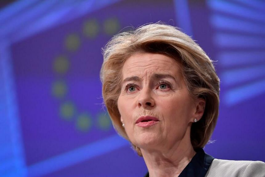 European Commission President Ursula von der Leyen speaks during a press conference to present the economic response to the Covid-19 crisis at the EU headquarters in Brussels on March 13, 2020.