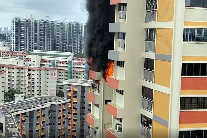 Huge flames and thick smoke could be seen at about 3.20pm billowing from the unit at Block 724 Clementi West Street 2 on March 16, 2020.