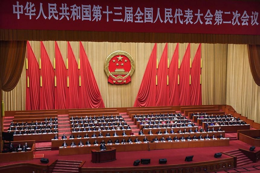 A photo taken on March 8, 2019, shows the second plenary session of the National People's Congress at the Great Hall of the People in Beijing.