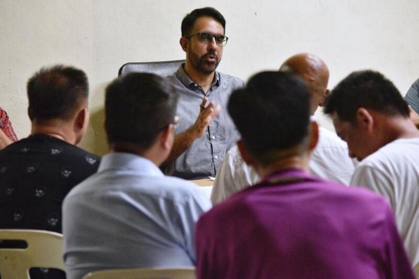 Workers' Party chief Pritam Singh during his meet-the-people session at Bedok Reservoir Road on March 16, 2020.
