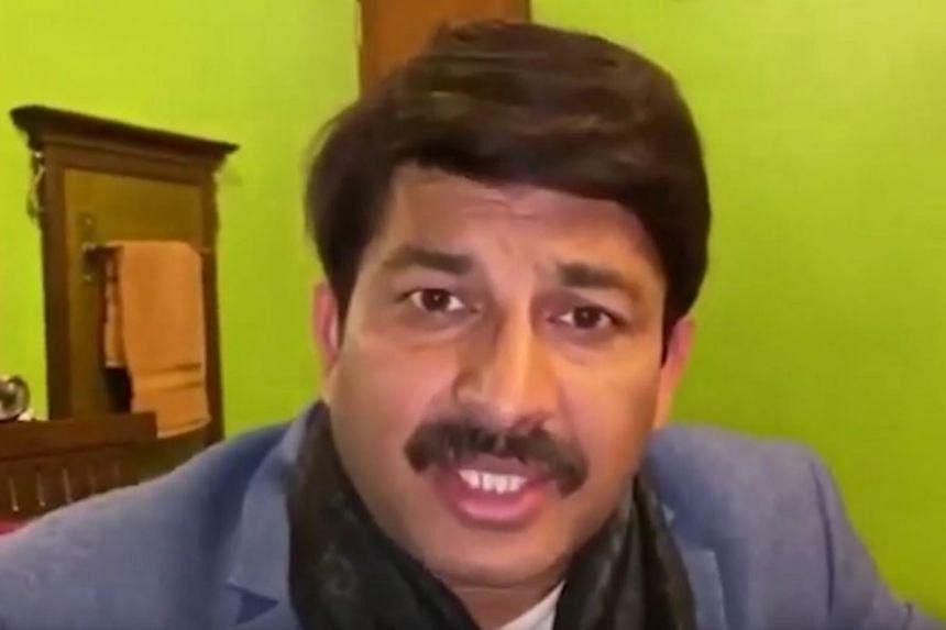 A screengrab from a fake video featuring Bharatiya Janata Party leader Manoj Tiwari.