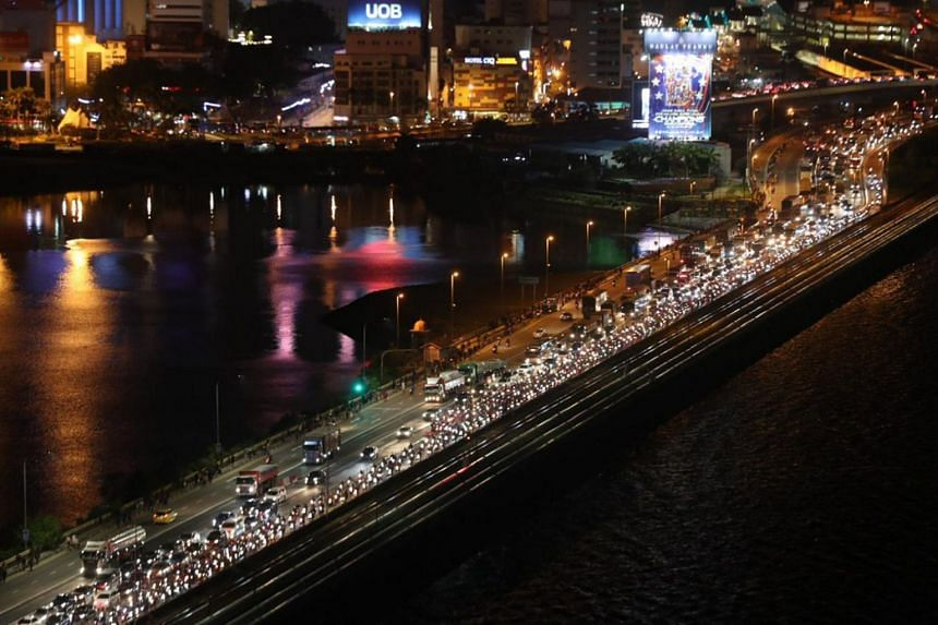 Traffic at the Causeway at Woodlands on March 17, 2020. Malaysia has announced that it will impose a lockdown of its borders to combat the spread of the coronavirus.