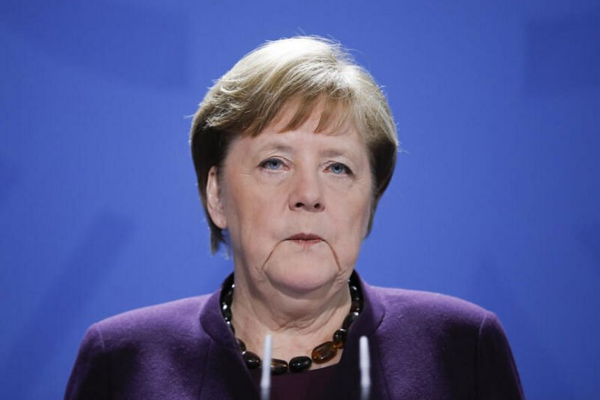 German Chancellor Angela Merkel makes a press statement on the spread of the coronavirus in Berlin, on March 16, 2020.