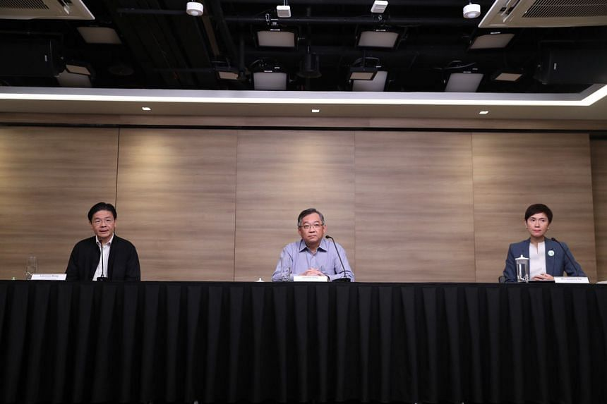 (From left) National Development Minister Lawrence Wong, Health Minister Gan Kim Yong and Manpower Minister Josephine Teo at the multi-ministry task force's press conference on March 17, 2020.