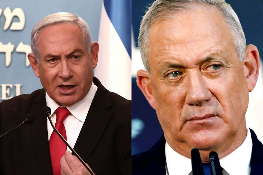 (Left) Israel's longest-serving premier Benjamin Netanyahu faces bribery, fraud and breach of trust charges. (Right) Mr Benny Gantz has been given 28 days, with the option of a two-week extension, to assemble a ruling coalition.