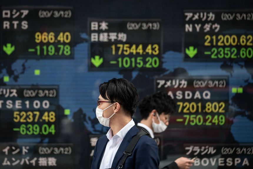 Pedestrians wearing face masks walk past an electric board showing the Nikkei 225 index on the Tokyo Stock Exchange, on March 13, 2020.