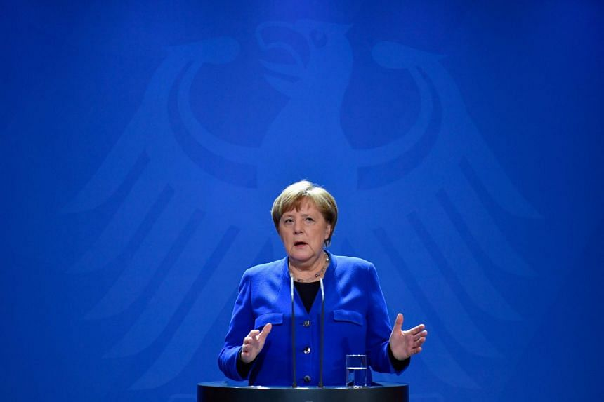 German Chancellor Angela Merkel makes a press statement on the spread of Covid-19 in Berlin on March 17, 2020.