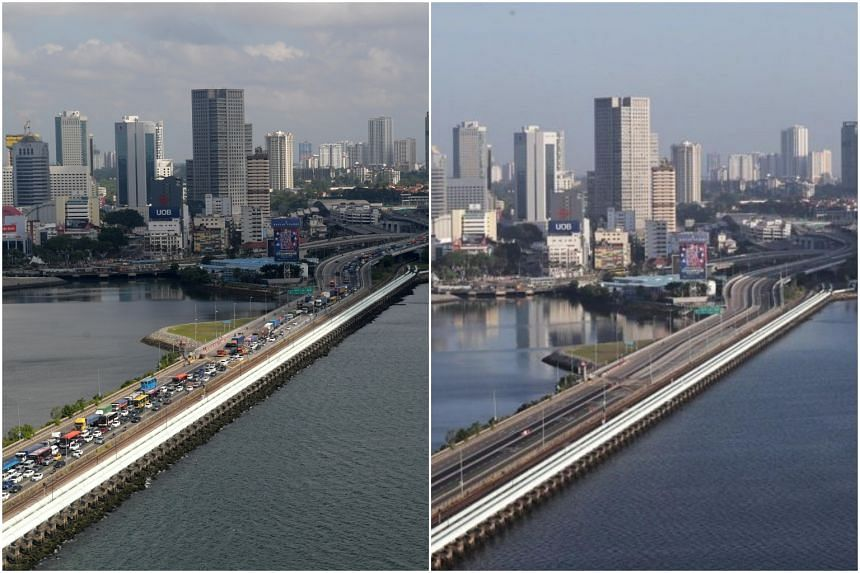 A view of the Woodlands Causeway on March 16 (left) and March 18, 2020.