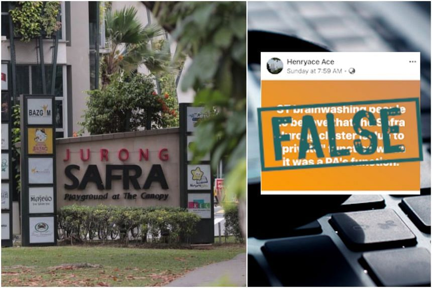 All three posted or shared links saying the People's Association and residents' committees were responsible for the infections linked to an event held at Safra Jurong.