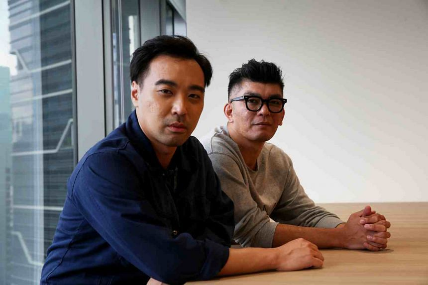 Mr He Shuming (left) scriptwriter and director Royston Tan.