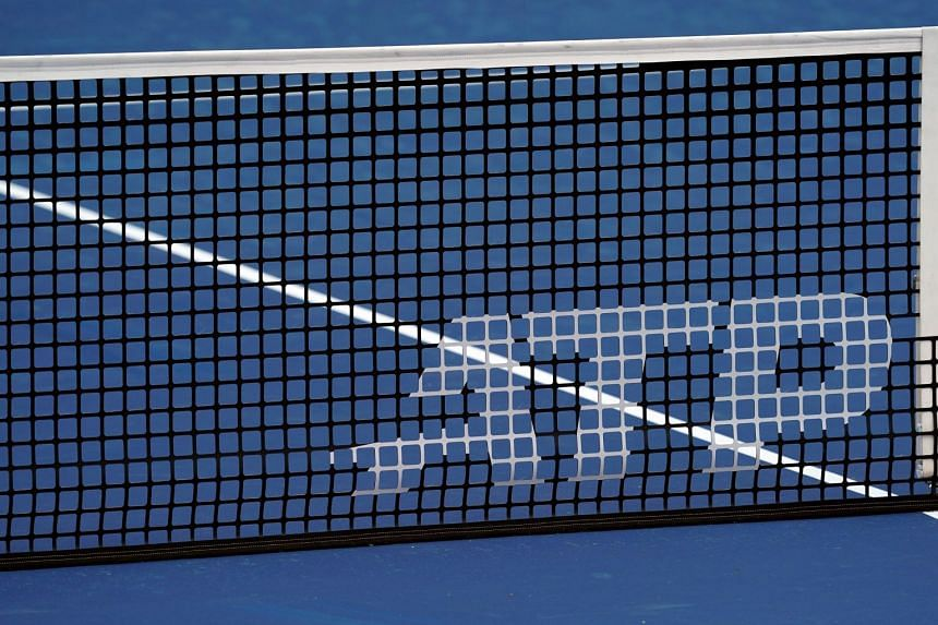 A view of the ATP logo on an official net.