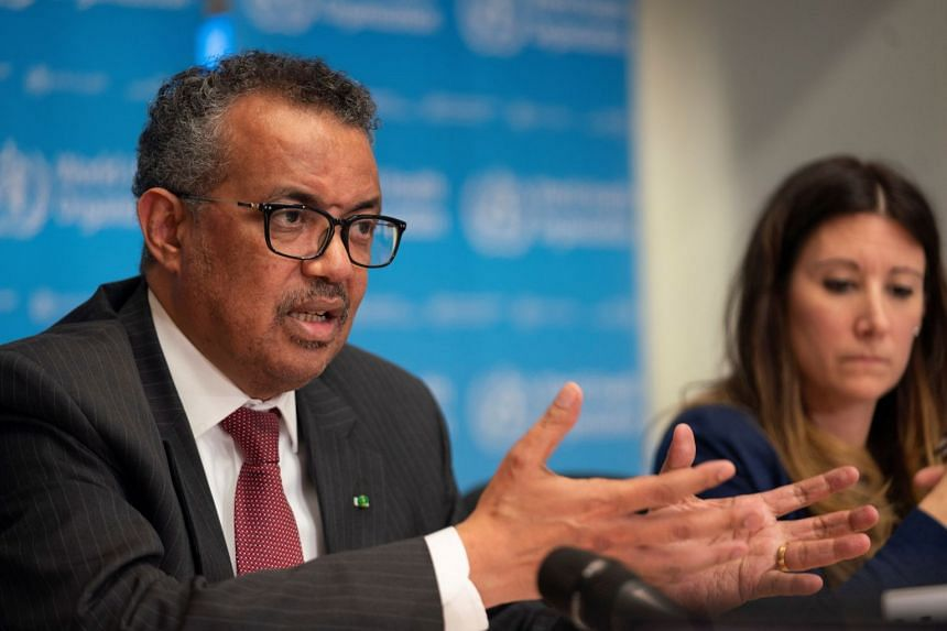 WHO chief Tedros Adhanom Ghebreyesus attends a Covid-19 news conference on March 16, 2020.