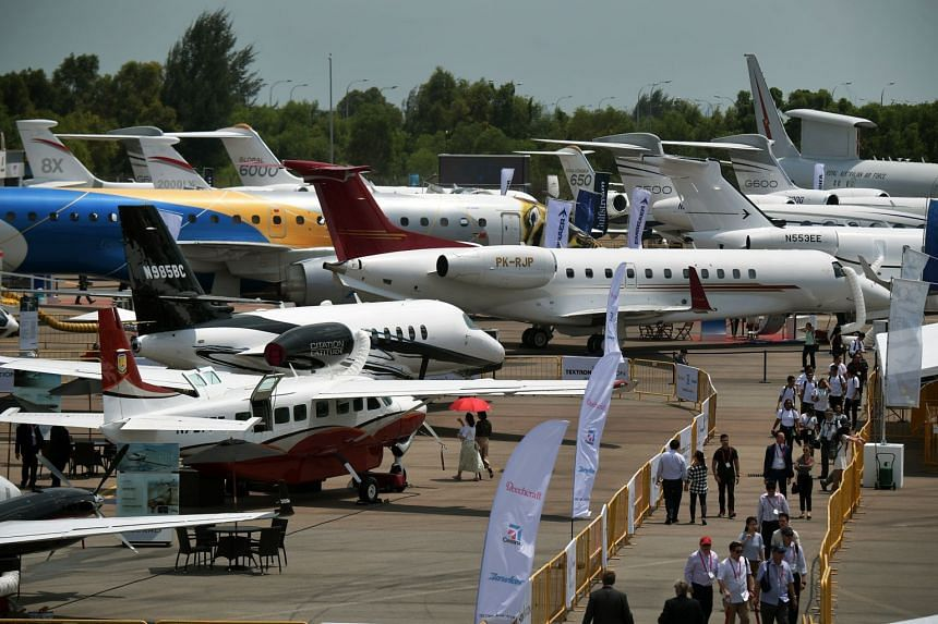 Private jets at the Static Aircraft Display area of the Singapore Airshow 2018 on Feb 8, 2018.