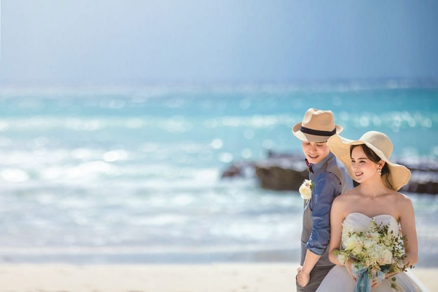 Couples can fly to Okinawa to celebrate their marital union as the chain of islands offers a variety of wedding venues.