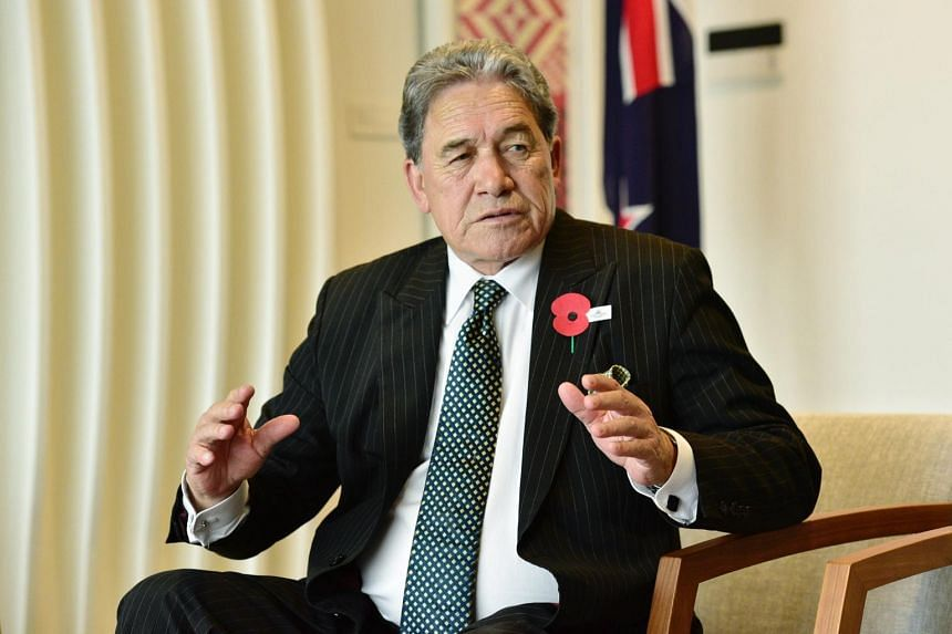 In a photo taken on April 24, 2018, New Zealand Deputy Prime Minister and Foreign Minister Winston Peters speaks in an interview during his visit to Singapore.
