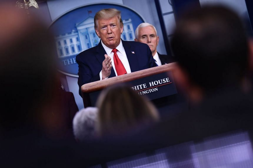 Trump answers a question during a daily briefing on Covid-19 at the White House.