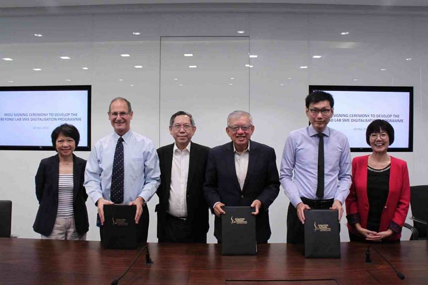 (From left) SMU Academy executive director Lim Lai Cheng, SMU vice provost Steven Miller,  Beyond consortium chairman-designate Gan Chee Yen, SBF chief executive Ho Meng Kit, Ngee Ann Polytechnic principal Clarence Ti, and SMU Professor of Finance (P