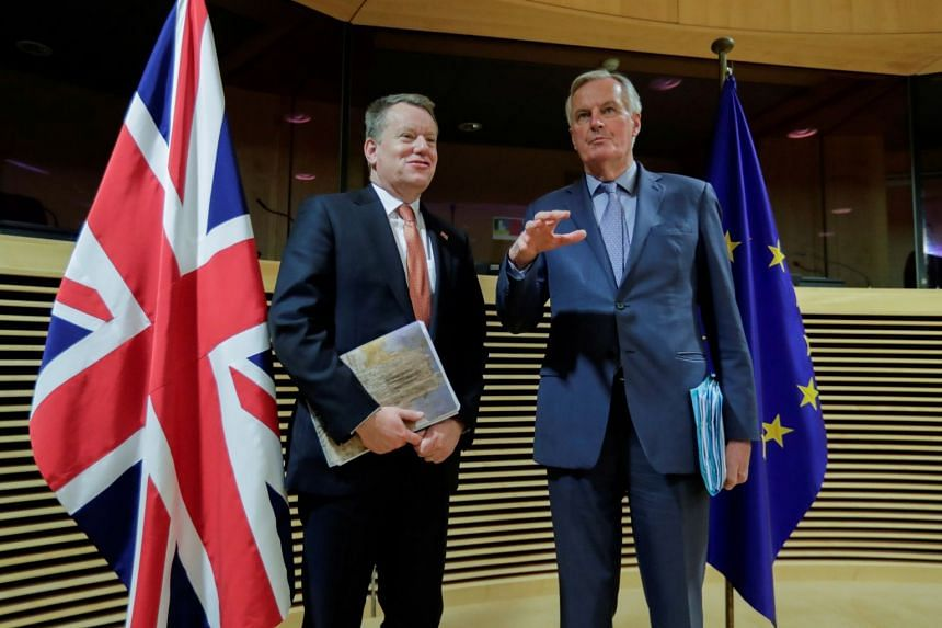 David Frost (left) and Michel Barnier at the first round of post-Brexit trade deal talks, March 2, 2020