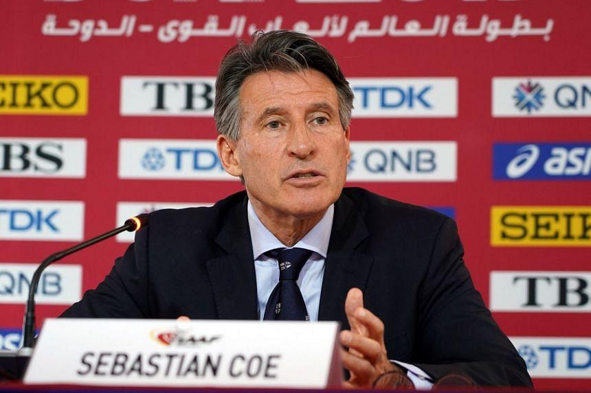 IAAF president Sebastian Coe speaks at a press conference in 2019.