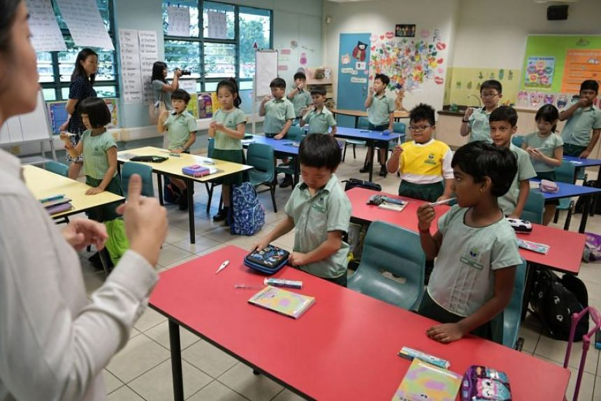 A teacher at Farrer Park Primary School instructs Primary 2 pupils to check their temperature on Jan 7, 2020.