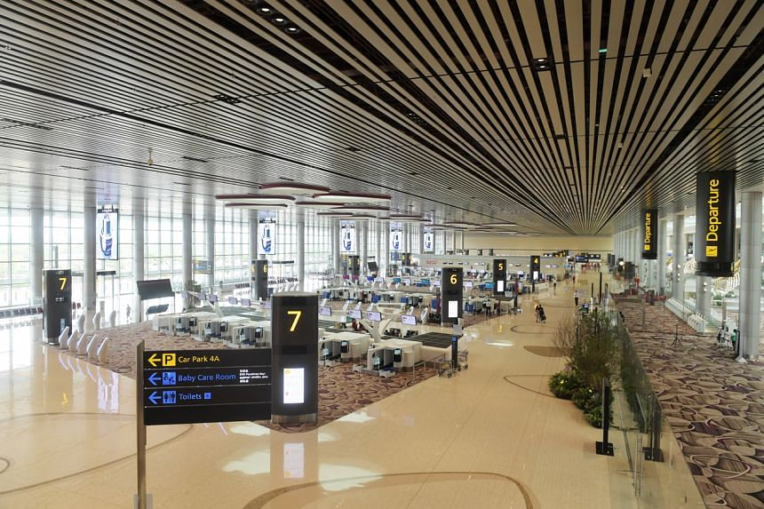 The mostly-deserted Changi Airport Terminal 4 due to cancelled flights on March 20, 2020.
