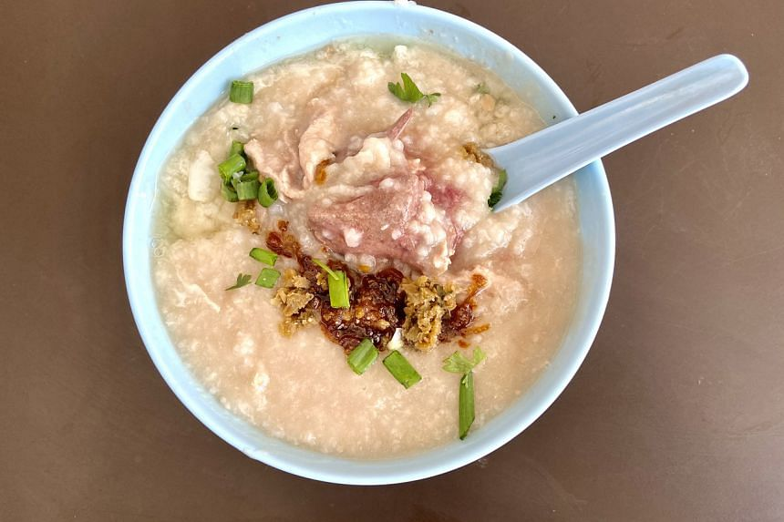 The Hainanese-style porridge is cooked till the rice grains have broken, yet unlike Cantonese congee, you still get the grainy texture.
