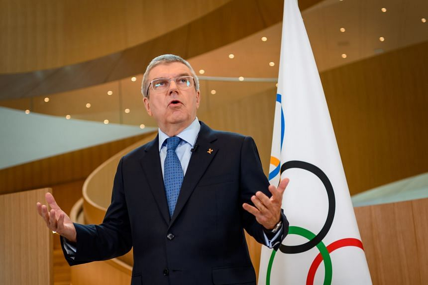 In a photo taken on March 3, 2020, International Olympic Committee President Thomas Bach delivers a statement on the Covid-19 situation at the IOC headquarters in Lausanne, Switzerland.